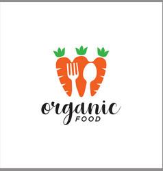 carrot cutlery logo vegetable design vector image