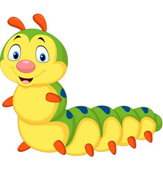 Cartoon caterpillar isolated on white background vector