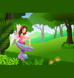 cartoon cute fairy sitting in the tropical forest vector image