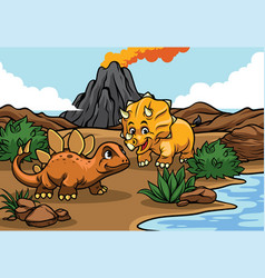 cartoon of triceratops and stegosaurs in the vector image