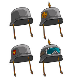 Cartoon old retro german soldier helmets vector