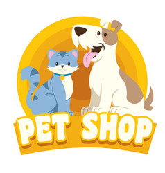 cat dog petshop design vector image