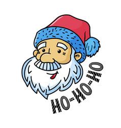 Christmas greeting card - santa and ho-ho-ho text vector