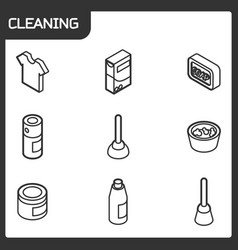 Cleaning outline isometric icons vector