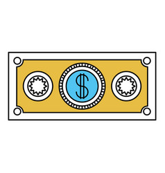 Color sectors silhouette of money bill icon vector