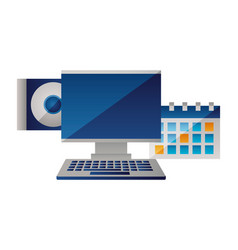 Computer monitor calendar compact disk vector