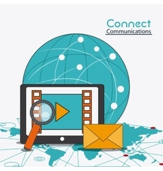 connect communications social network icon vector image