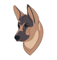 Continuous line german shepherd single line vector