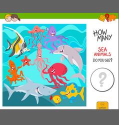 Count sea animals activity game vector
