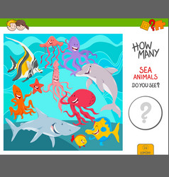 count the sea animals activity game vector image