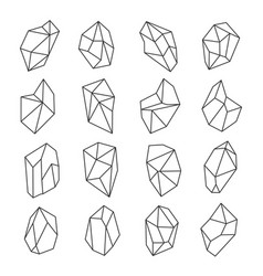 Crystal shapes outline set vector