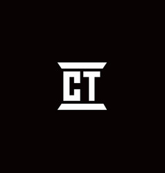 Ct logo monogram with pillar shape designs vector