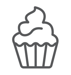 Cupcake line icon sweet and tasty dessert sign vector