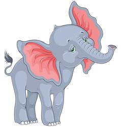 Cute cartoon baby elephant isolated on white vector