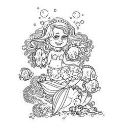 cute little mermaid girl sits on a stone playing vector image