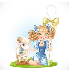 Cute shepherdess with lamb sit on green grass vector image
