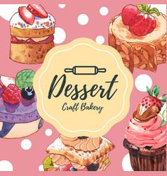 Dessert frame design with cupcake tart cake puff vector