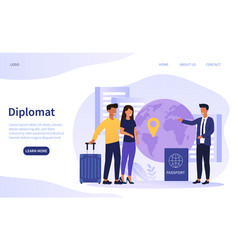 Diplomat profession web banner or landing page vector