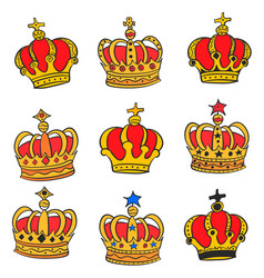 Doodle red crown style various collection vector