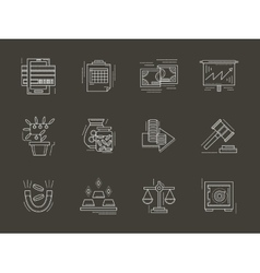 Economy white line icons set vector image