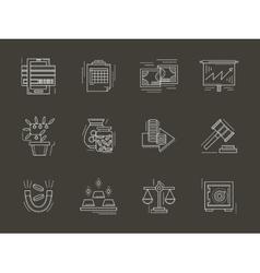 Economy white line icons set vector image