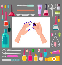 female hands with manicure and sharp tools set vector image