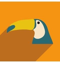 Flat icon with long shadow brazilian toucan vector