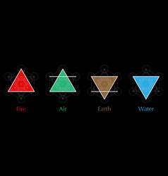 four elements icons air fire water earth symbol vector image
