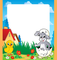 frame with easter bunny topic 8 vector image