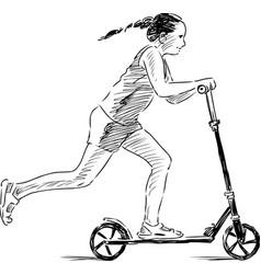 Girl riding a scooter vector
