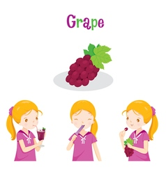 Girl With Grape Fruit Juice Ice Cream And Letter vector image