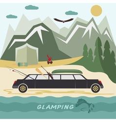 glamor camping flat design landscape with vector image