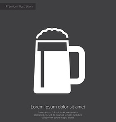 Glass of beer premium icon white on dark backgroun vector