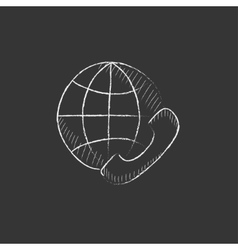 Global communications Drawn in chalk icon vector