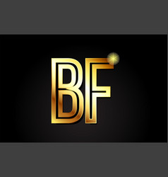 Gold alphabet letter bf b f logo combination icon vector