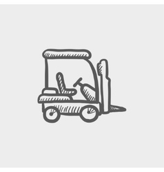 Golf cart sketch icon vector