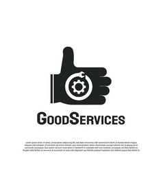 Good service logo with hand concept repair vector