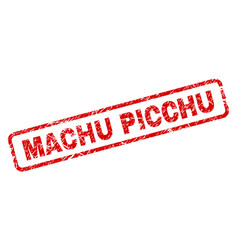 Grunge machu picchu rounded rectangle stamp vector