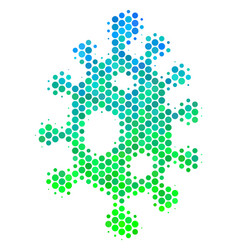 halftone blue-green infection cell icon vector image