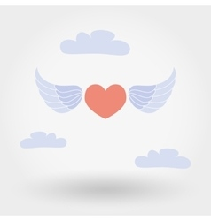 Heart with wings in the clouds vector image