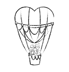 Hot air balloon and heart design vector