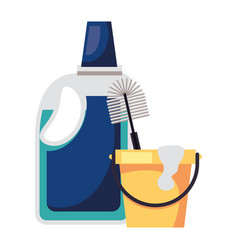Housekepping bucket tool with detergent bottle vector