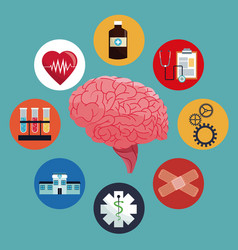 human brain care medicine health vector image