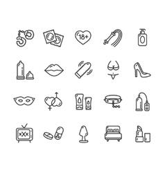 Intim or Sex Shop Icon Set vector image