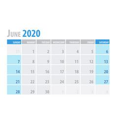June calendar planner 2020 in clean minimal table vector