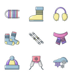 Knitwear icons set cartoon style vector