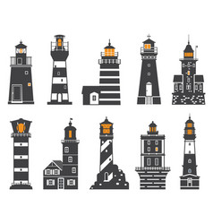 Lighthouses and searchlights icons vector