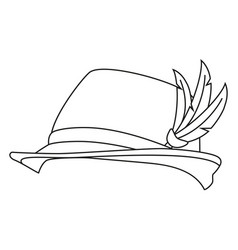 Line art black and white german feather hat vector