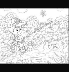 Little boy fisherman on a pond vector