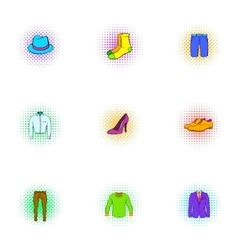 Material icons set pop-art style vector